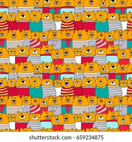 Seamless bright pattern with bears with different emotion. Vector illustration.