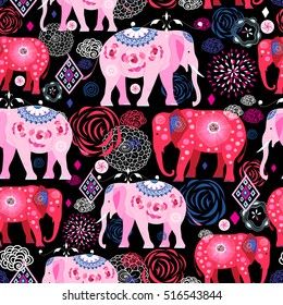 Seamless bright pattern of beautiful elephants on a dark background with flowers