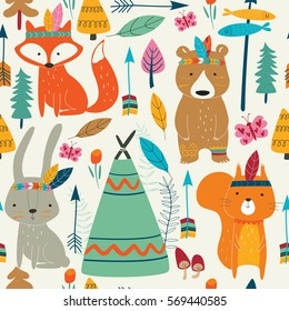 Seamless bright pattern with cute woodland tribal animals in cartoon style