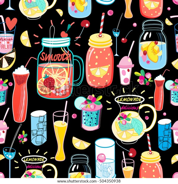 Seamless bright pattern with different cocktails on a black background