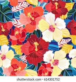 Seamless bright pattern of exotic florets of hibiscuses