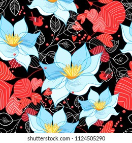 Seamless bright pattern of flowers and leaves on a dark background