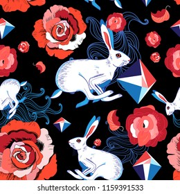 Seamless bright pattern of jumping hares and red roses on a dark background