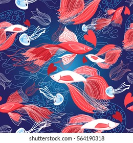 Seamless bright pattern lovers red fish on a blue background