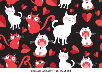 Seamless bright pattern with loving cats on a dark background. Holiday cats with hearts