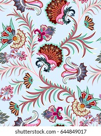 seamless bright pattern with paisley,colorful scallops elements and curls, imitating leaves on a  blue background