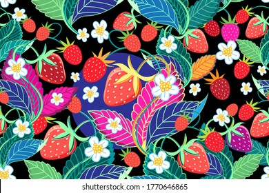 Seamless bright pattern of red strawberries on a dark background
