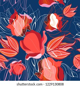 Seamless bright pattern of red tulips against a dark background.