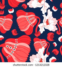 Seamless bright pattern of red and white flowers
