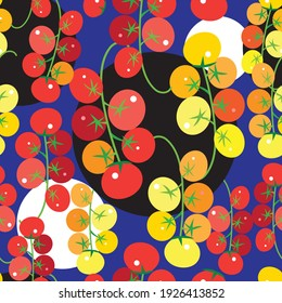 Seamless bright pattern with tomatoes and vegetables on a blue background. Example of the design tomatoes for advertising