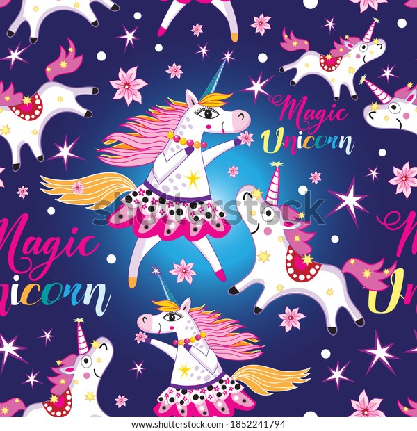 Seamless bright pattern with unicorns and stars on blue. Example of a unicorns template for fabrics or Wallpaper.