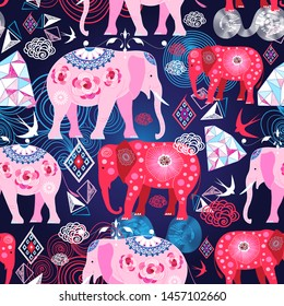 Seamless bright print with elephants and geometry on a dark background. Design template for wallpaper, poster or packaging.