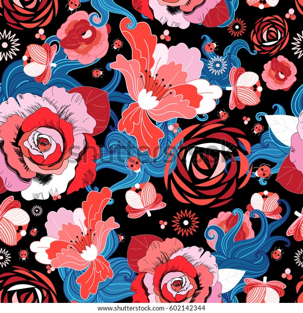 Seamless bright summer floral pattern with ladybugs