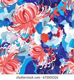 Seamless bright summer pattern with different flowers blue and red