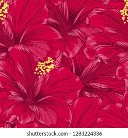Seamless bright tropical background with a paradise exotic hibiscus flower.