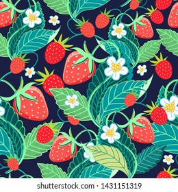 Seamless bright vector pattern with strawberries and berries on a dark background. Sample design for a fabric, poster or web page.