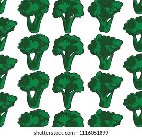 Seamless broccoli pattern isolated on white background