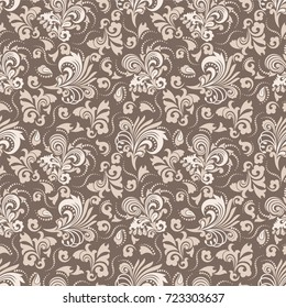 Seamless brown background with cocoa pattern in baroque style. Vector retro illustration. Ideal for printing on fabric or paper.