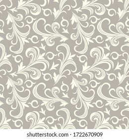 Seamless brown background with light pattern in baroque style. Vector retro illustration. Ideal for printing on fabric or paper for wallpapers, textile, wrapping.