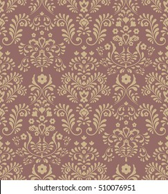 Seamless brown background with yellow pattern in baroque style.