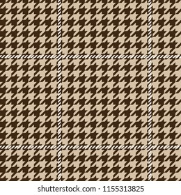 Seamless brown houndstooth pattern with white textile plaid check lines pattern vector