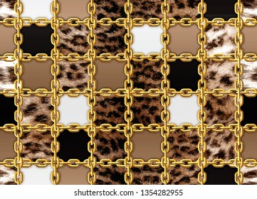 Seamless brown leopard and gold chain pattern vector