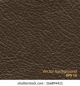 Seamless brown natural leather texture, detalised vector background.