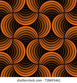 Seamless Brown Orange Shell Abstract Black Background Pattern