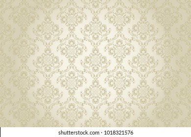 Seamless brown ornament on a beige wallpaper pattern. Floral ornament on background