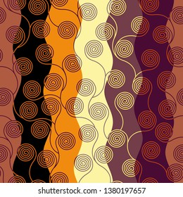 Seamless brown patchwork pattern. Curly waves pattern in Art Nouveau style. Vector illustration.