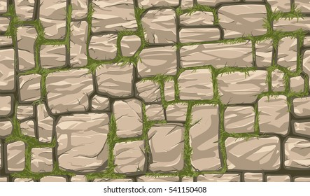 Seamless Brown Stone Wall Background. Global Colors Used.