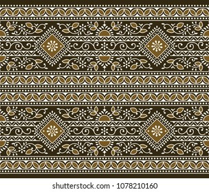 Seamless brown traditional indian border