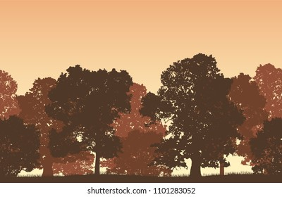 Seamless brown vector forest landscape with deciduous trees and grassy land.