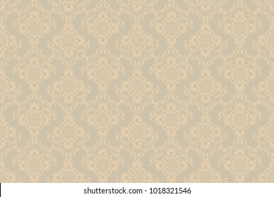 Seamless brown wallpaper pattern. Floral ornament on background