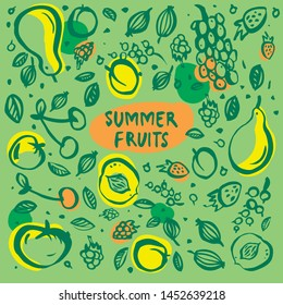 Seamless brush strokes pattern with summer garden fruits (apple, pear, peach, cherry, apricot, grapes, raspberry, strawberry, gooseberry, currant) with place for text. Hand drawn vector design element
