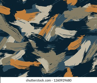 Seamless Brushstroke Camouflage Pattern