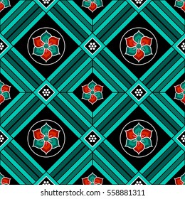 Seamless Buddhist Temple traditional ornament with colorful Lotus flower in circle. Oriental pattern. Buddhism theme. Abstract colorful background. Vector illustration.