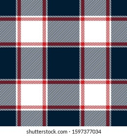 Seamless buffalo check plaid pattern. Autumn winter tartan plaid background in navy blue, red, and white for flannel shirt, scarf, blanket, throw, duvet cover, or other modern textile print.