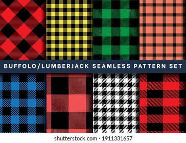 Seamless Buffalo Plaid check pattern collection, Set of Lumberjack buffalo plaid pattern vector on colorful background for Fabric and textile printing, wrapping paper, backdrops, and clothing print.