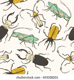 Seamless bug pattern. Funny hand drawn bugs, grasshopper, stag beetle. Childish poster, perfect for wrapping paper and wall decoration. Vector illustration