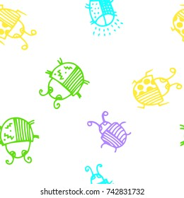 Seamless bugs cartoon pattern. Bugs cartoon pattern in thin line style. Background with happy cartoon insects. Beetles striped and polka dots. Colorful hand drawn print. Vector doodle illustration.
