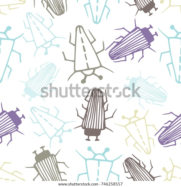 Seamless bugs cartoon pattern. Bugs cartoon pattern in thin line style. Background with happy cartoon insects. Colorful hand drawn print. Vector doodle illustration.