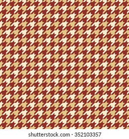 Seamless burgundy red and beige classic checked houndstooth textile pattern vector