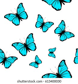 Seamless butterfly background. Vector
