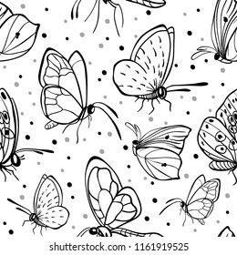 Seamless butterfly background. Vector pattern