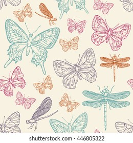 Seamless with butterfly and dragonfly. hand drawn