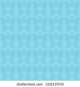 Seamless butterfly pattern vector. Design cyan on light cyan background. Design print for textile, wallpaper, floor, background.