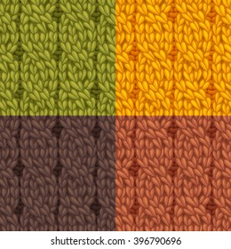 Seamless cables front patterns set. Four-stitch cables, twisting to the left. C4F. Vector colourful knitting texture. High detailed stitches. Can be used for web page backgrounds and wallpapers