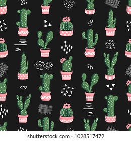 Seamless cacti pattern. Repeating background with cactus in pots and hand drawn elements. Vector illustration