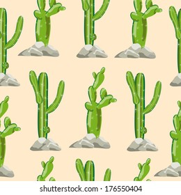 Seamless cactus background